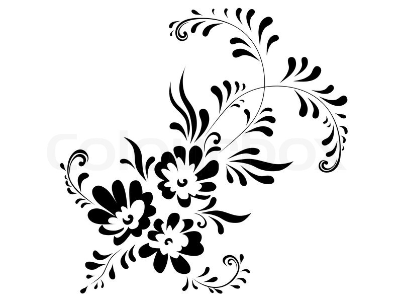 800x600 Illustration Of Floral Abstract Decoration Element In Black And