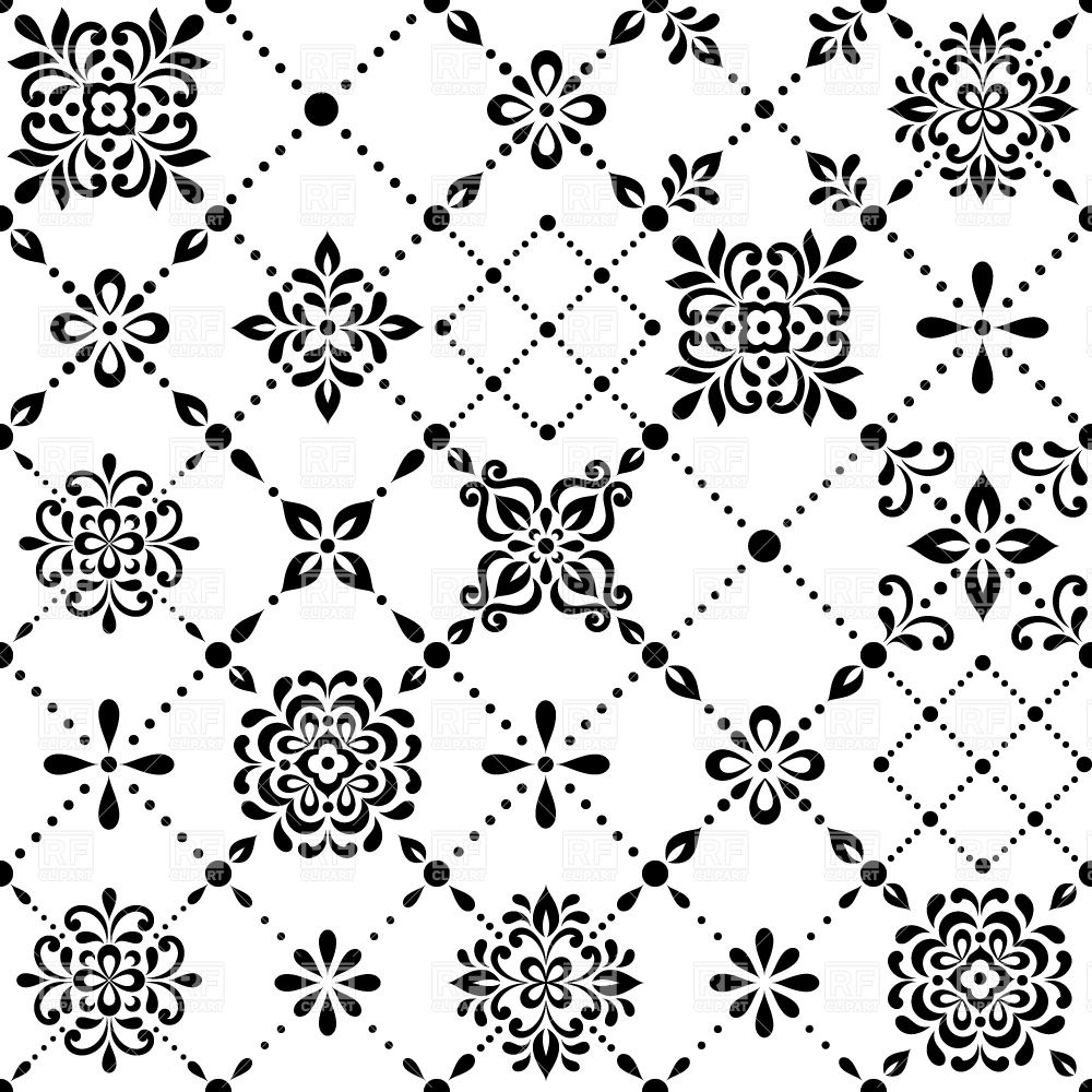 1000x1000 Seamless Black And White Wallpaper Made Of Stylized Flowers And
