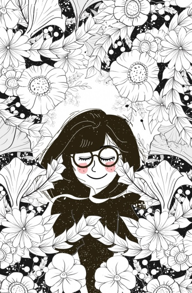 393x600 Woman Flowers Drawing Black White Sketch Free Vector In Adobe