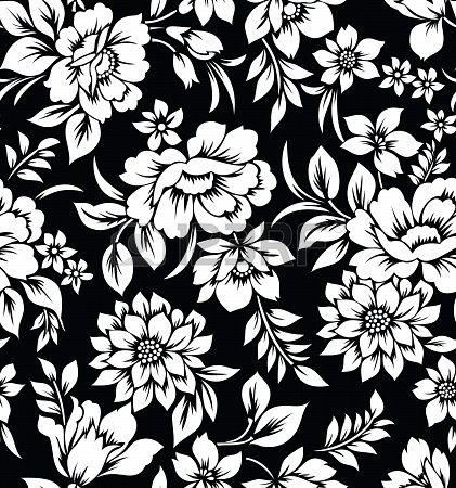 421x450 Black And White Flowers Decorative Seamless Floral Wallpaper Stock