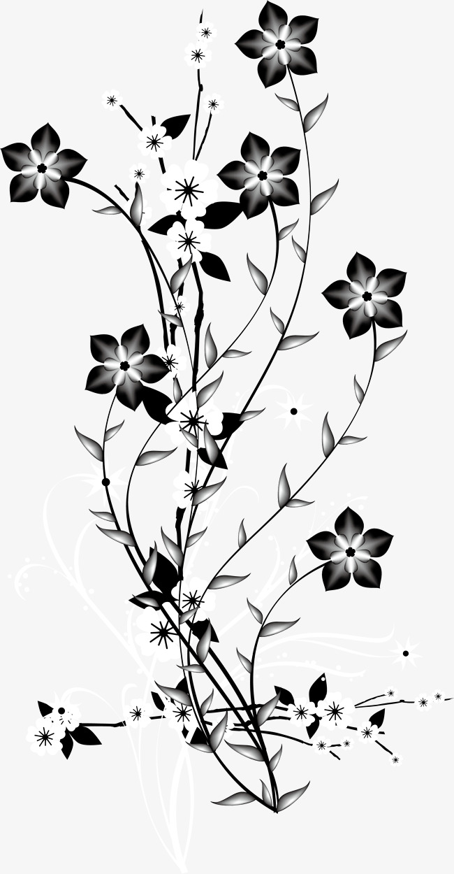 650x1250 Black And White Decorative Background Vector Flowers Branch