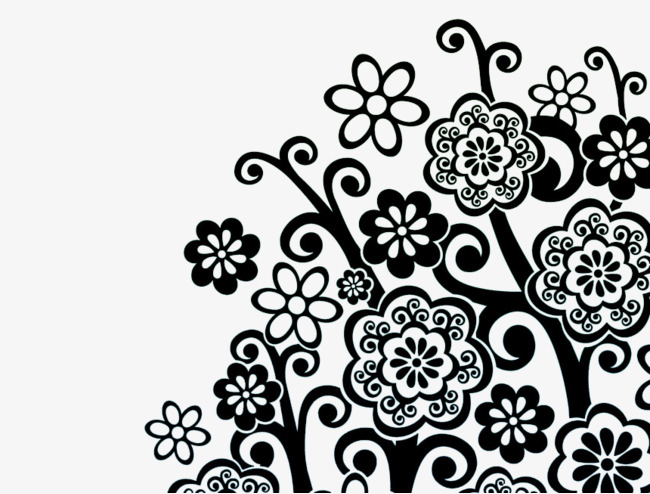 650x494 Black And White Vector Flowers, Flowers, Pattern, Shading Png And
