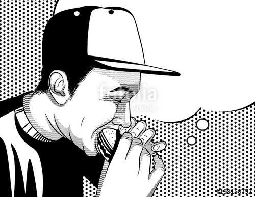 500x387 Black And White Vector Poster In Comic Art Style Of A Guy Eating