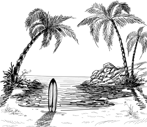 500x433 Hand Drawn Beach Black With White Vector 01 Free Download