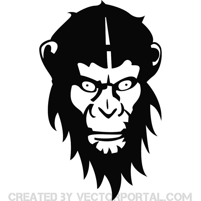 660x660 Monkey Face Free Vector 123freevectors