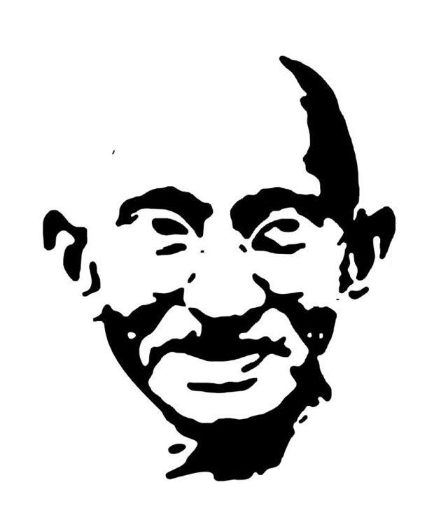 620x726 Studio Briana Black Mahatma Gandhi Line Vector Sketch Wall Decal