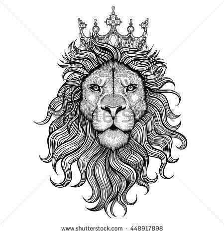 450x470 Vector Black And White Tattoo King Lion Illustration Art