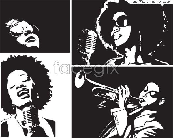 600x478 Illustration Vector White And Black Singers Female Black Over