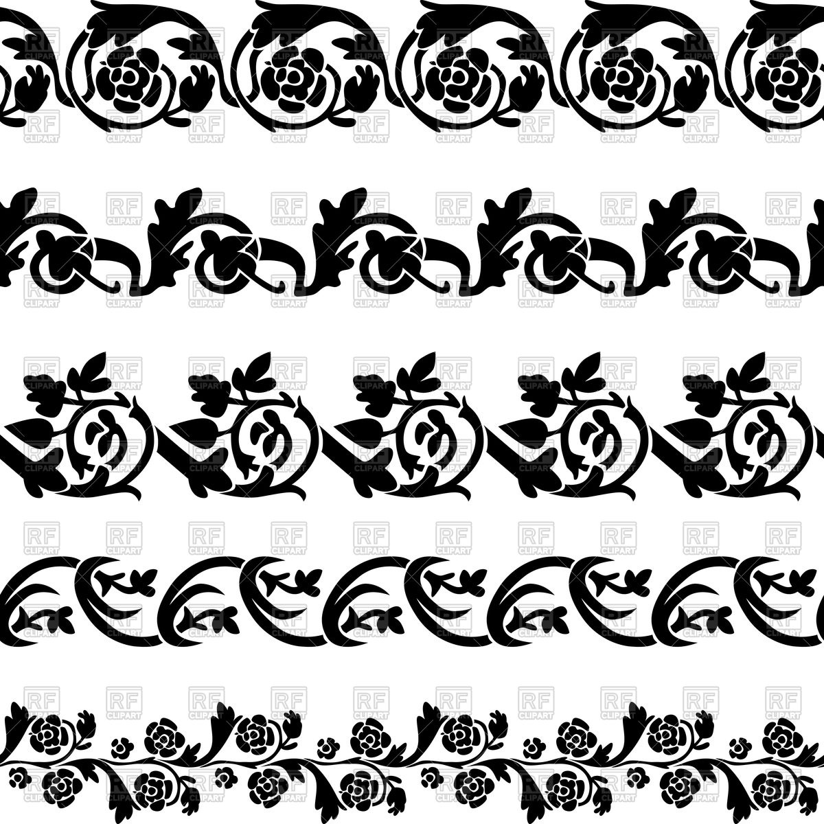 1200x1200 Set Of Black Floral Decorative Borders Vector Image Vector