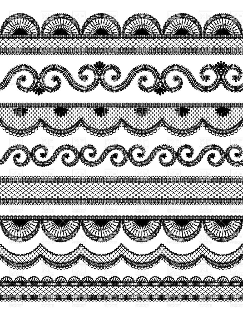 923x1200 Set Of Horyzontal Black Wavy Lace Borders, Vector Image Vector