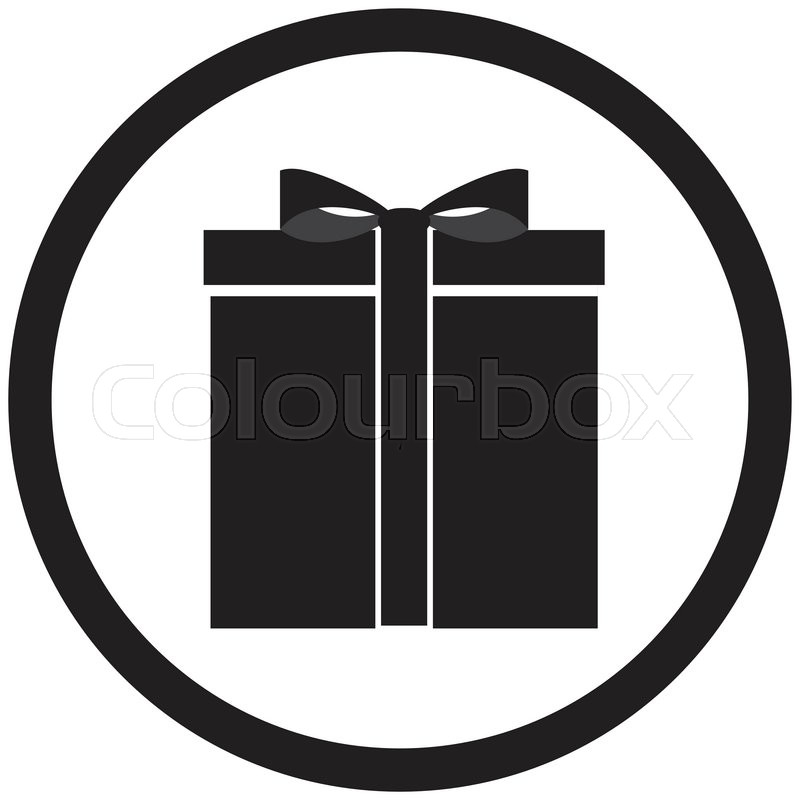 800x800 Black White Gift Box Vector. Christmas And Birthday Gift, Present