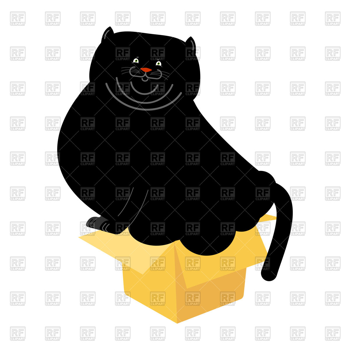 1200x1200 Fat Black Cat In Small Box Vector Image Vector Artwork Of Plants