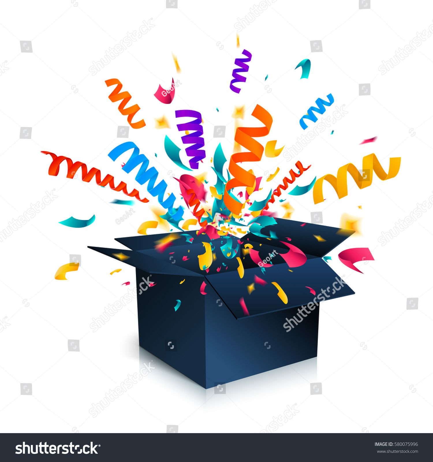 1500x1600 Gift Box Isolated On White Background With Confetti Explosion. An