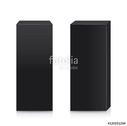 500x499 Vector Black Box Tall Shape In Side View And Front View For