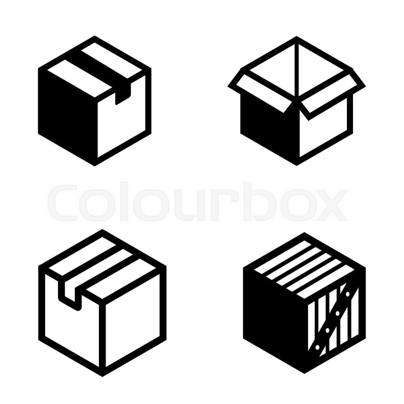 800x800 Vector Black Boxs Pictogram Icons Set. Mail Box Icon. Stock