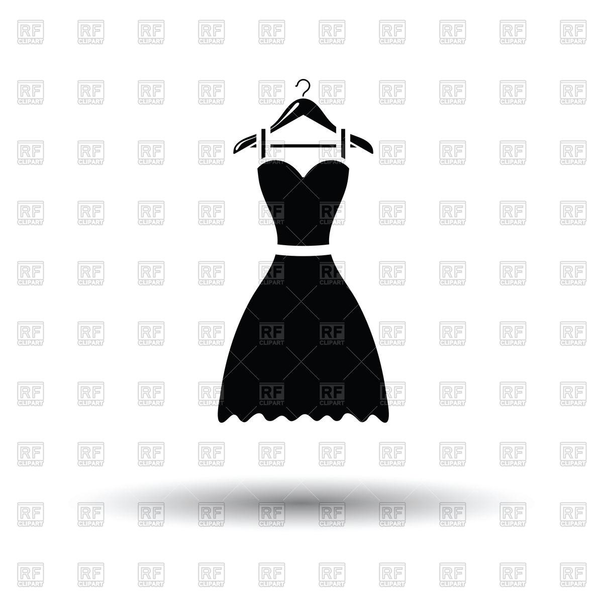 1200x1200 Elegant Black Dress On Hanger Vector Image Vector Artwork Of
