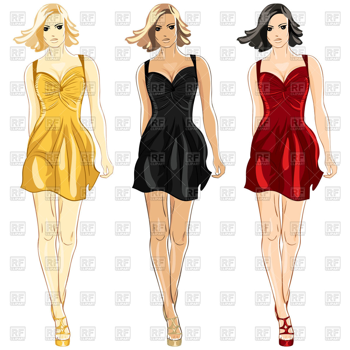 1200x1200 Fashion Model In A Red, Black And Gold Little Dress Vector Image