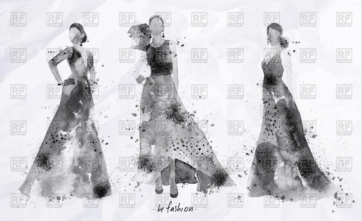 1200x732 Beautiful Women In Long Black Dress, Watercolor Fashion Lady