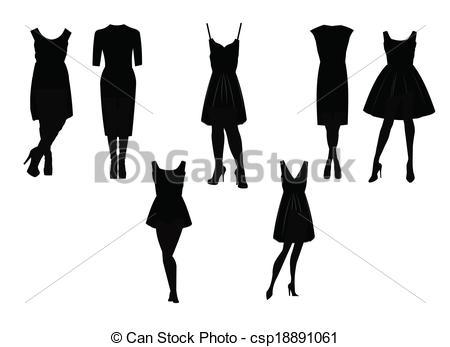450x347 Little Black Dress In Silhouette Set .