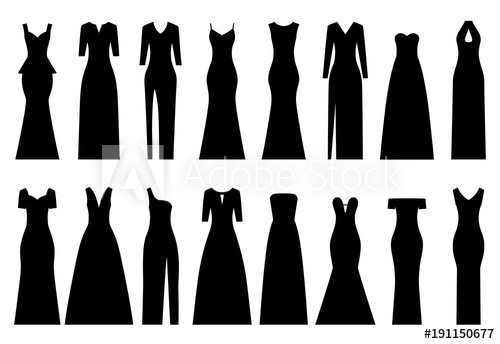 500x344 Set Of Silhouettes Of Evening Dresses, Vector Illustration
