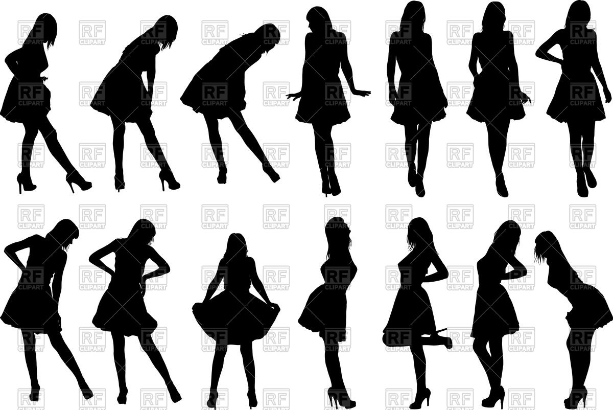 1200x802 Silhouettes Of Women In Dresses Vector Image Vector Artwork Of