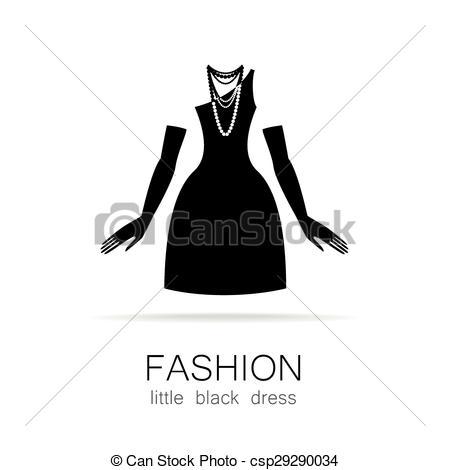 450x470 Black Dress Clipart Vector Art