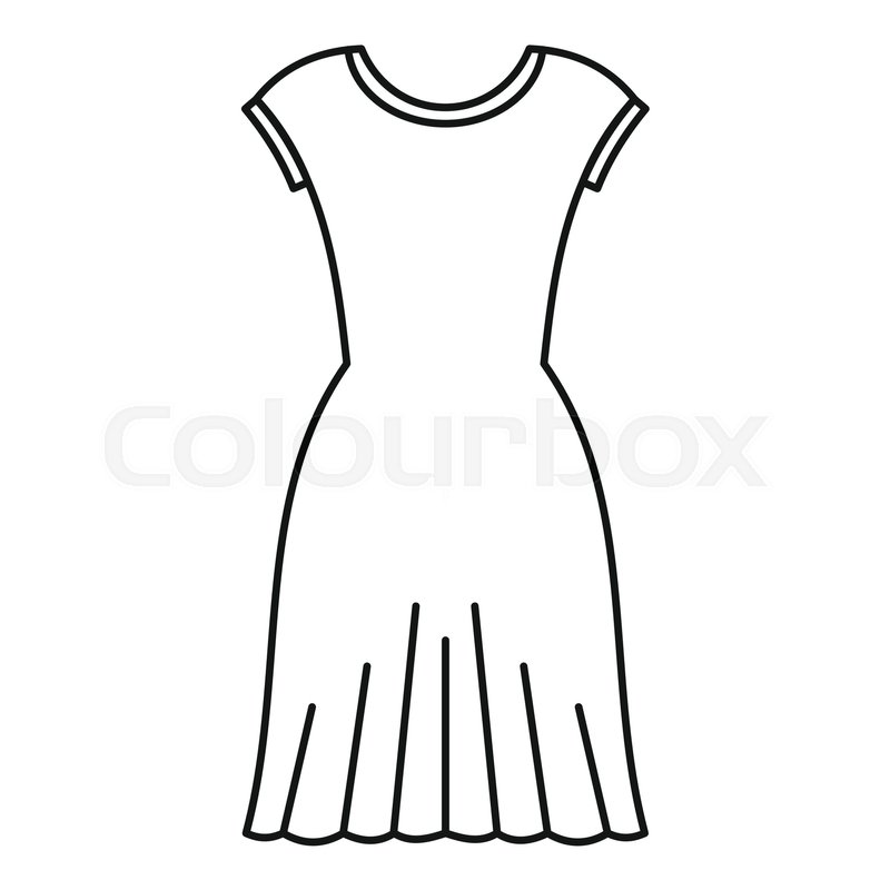 800x800 Woman Dress Icon. Outline Illustration Of Woman Dress Vector Icon