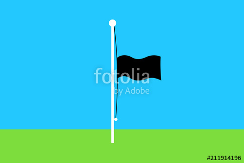500x334 Black Flag Is Flying Below The Summit On A Pole Mast. Half Pole