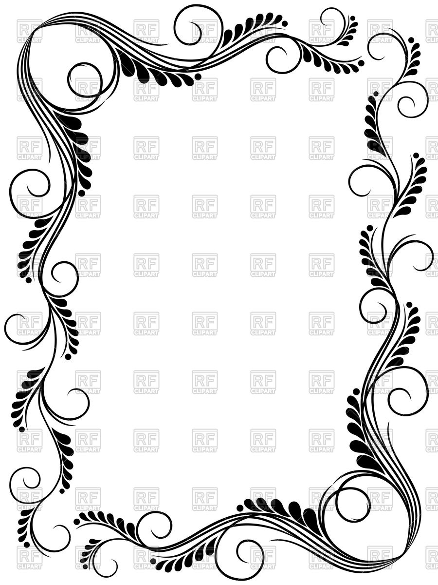 900x1200 Abstract Floral Black And White Frame Ornamental Frame Vector