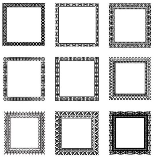 520x539 Square Black Frame Vector Set 01 Free Download