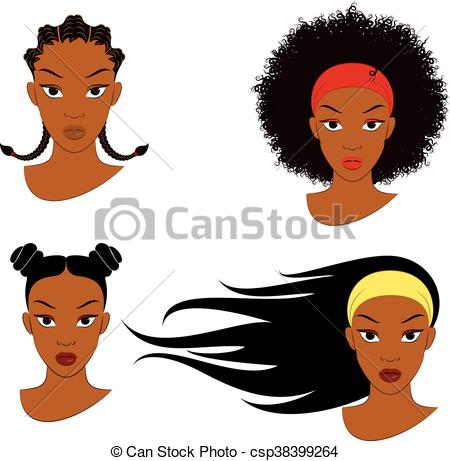 450x461 Black Girl Hair Styles. Vector Illustration Of Four Different Hair