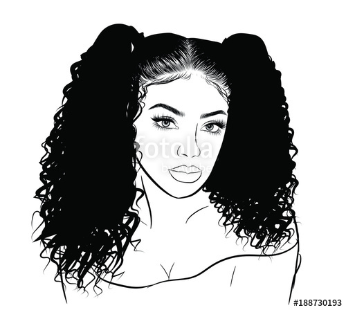 500x448 Hand Drawn Black Woman With Curly Double Ponytails And Luxurious