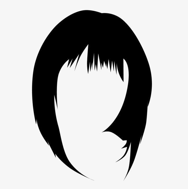 650x651 Black College Wind Girl Short Hair, Black Vector, Wind Vector
