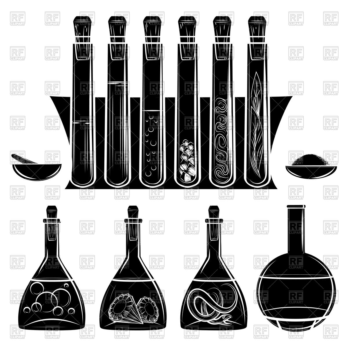 1200x1200 Science Lab Equipment Black Silhouettes Vector Image Vector