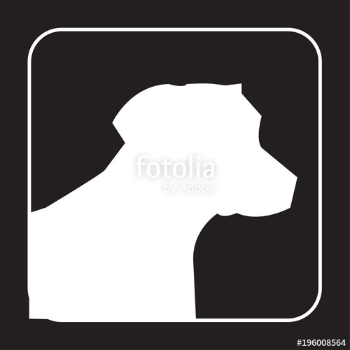 500x500 White Lab Head Silhouette On Black Background Stock Image And