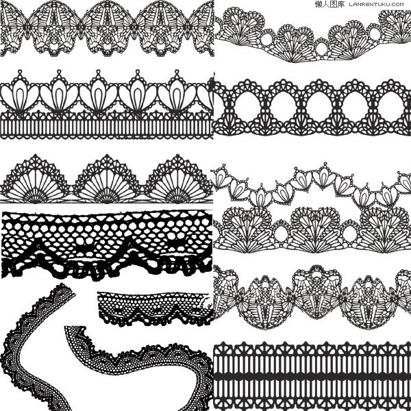 600x600 Variety Of Practical Black Lace Vector Material My Free