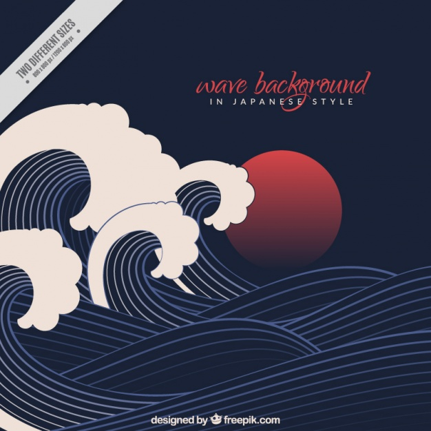 626x626 Black Wave Background In Japanese Style Vector Free Download