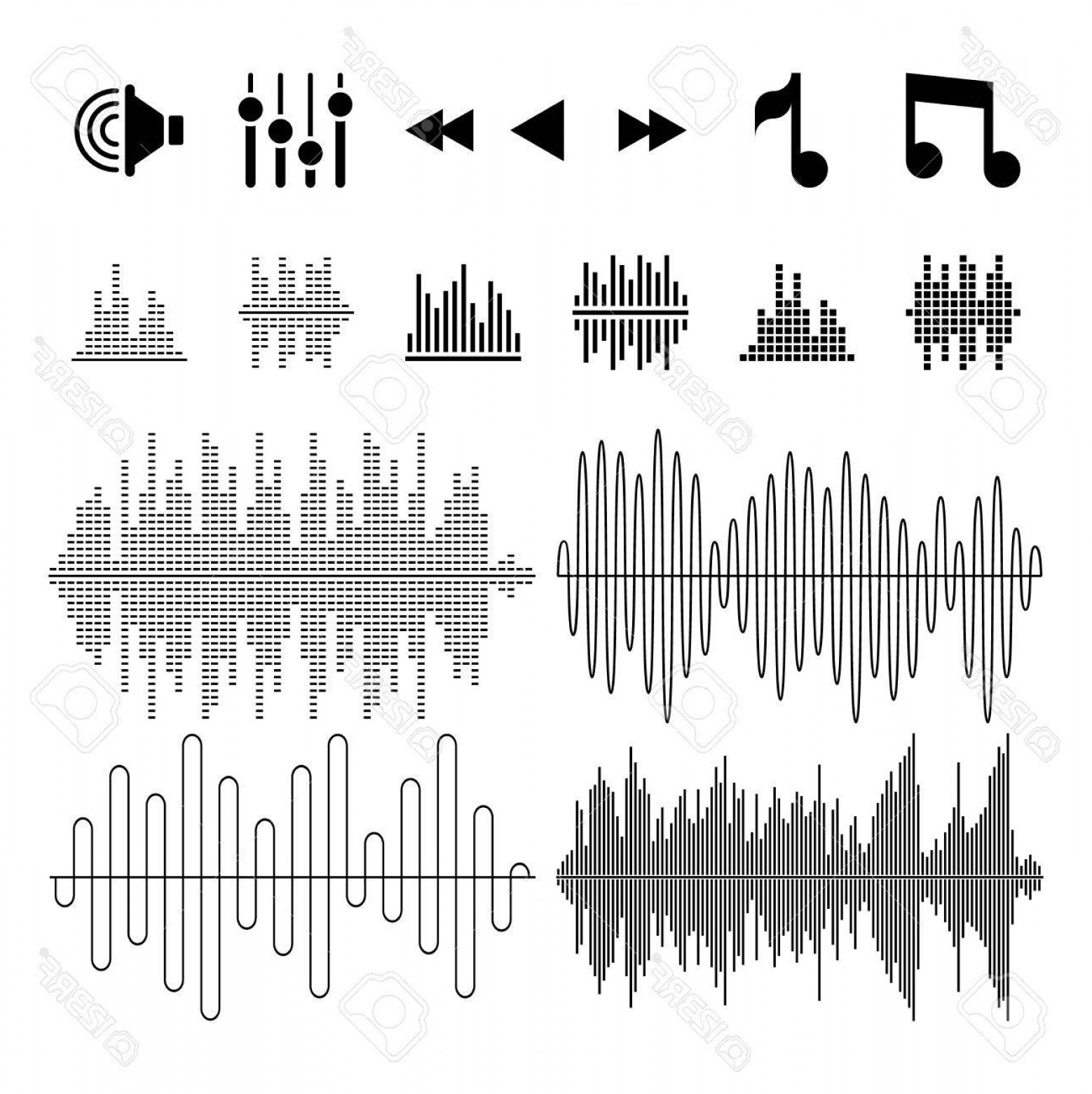 1558x1560 Photostock Vector Equalizer Music Sound Waves Vector Icons Wave