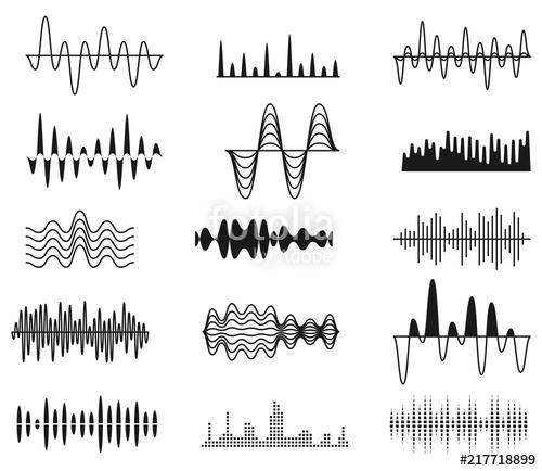 500x434 Sound Amplitude Waves. Radio Signal Symbols. Audio Music Equalizer