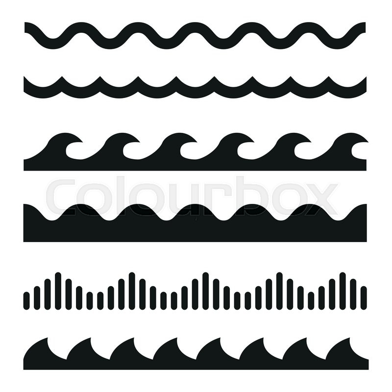 800x800 Vector Black Wave Icons Set On White Background. Water Waves