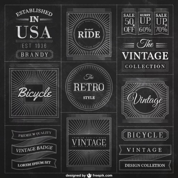 626x626 Blackboard Badges In Vintage Style Vector Free Download