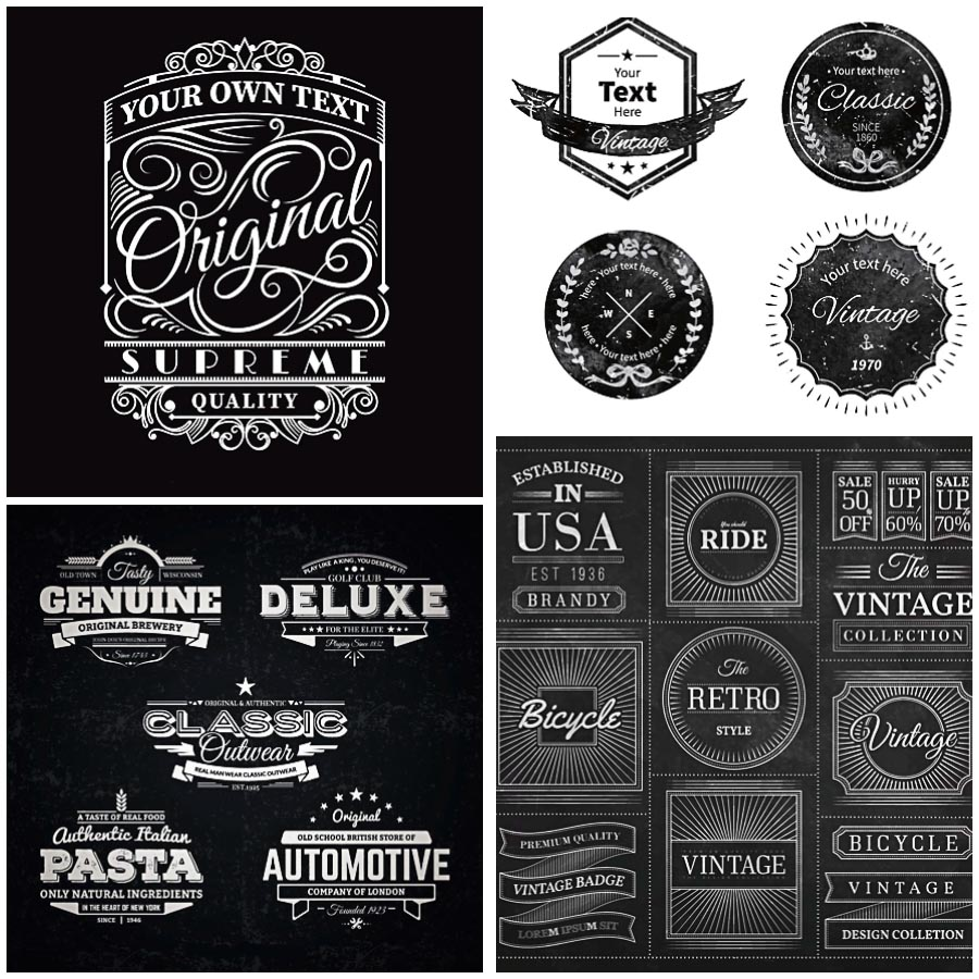 900x900 Blackboard Retro Badges Vector Free Download