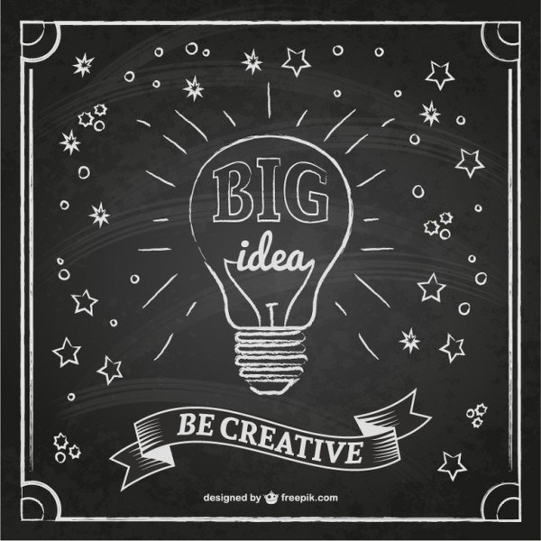 600x600 Creative Idea With Blackboard Texture Free Vector 123freevectors