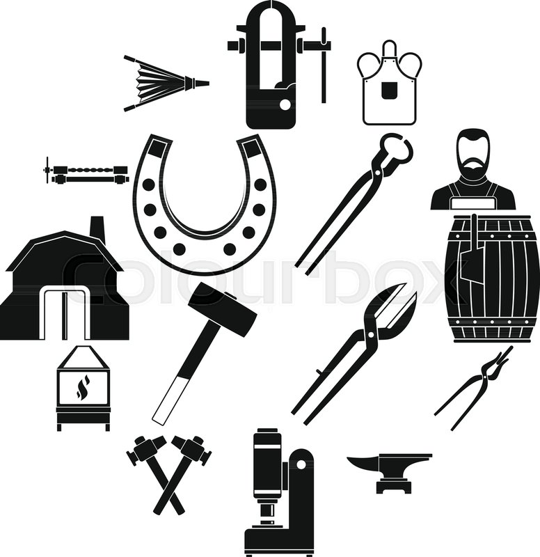 776x800 Blacksmith Icons Set. Simple Illustration Of 16 Blacksmith Vector