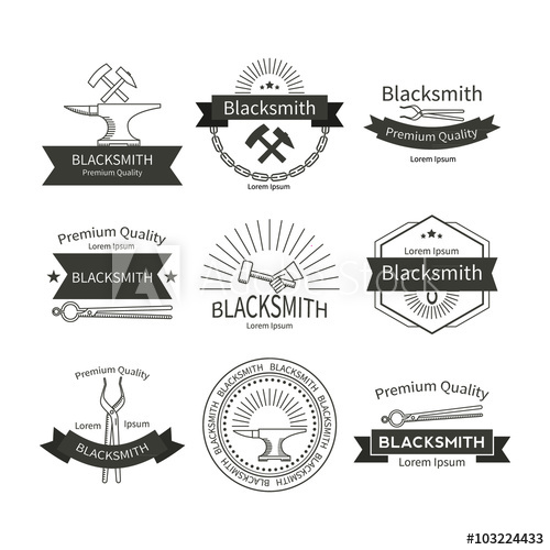 500x500 Blacksmith Vector Labels Set