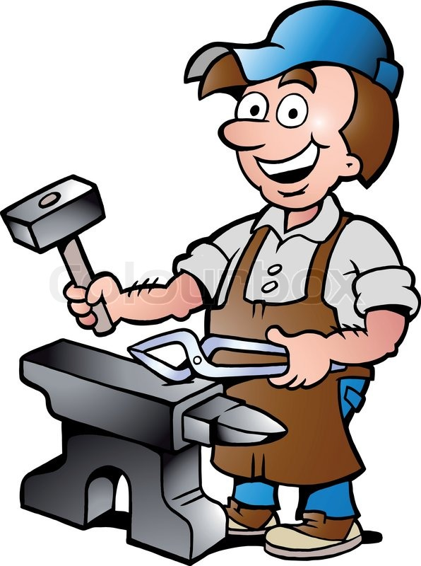 596x800 Hand Drawn Vector Illustration Of An Happy Blacksmith Worker