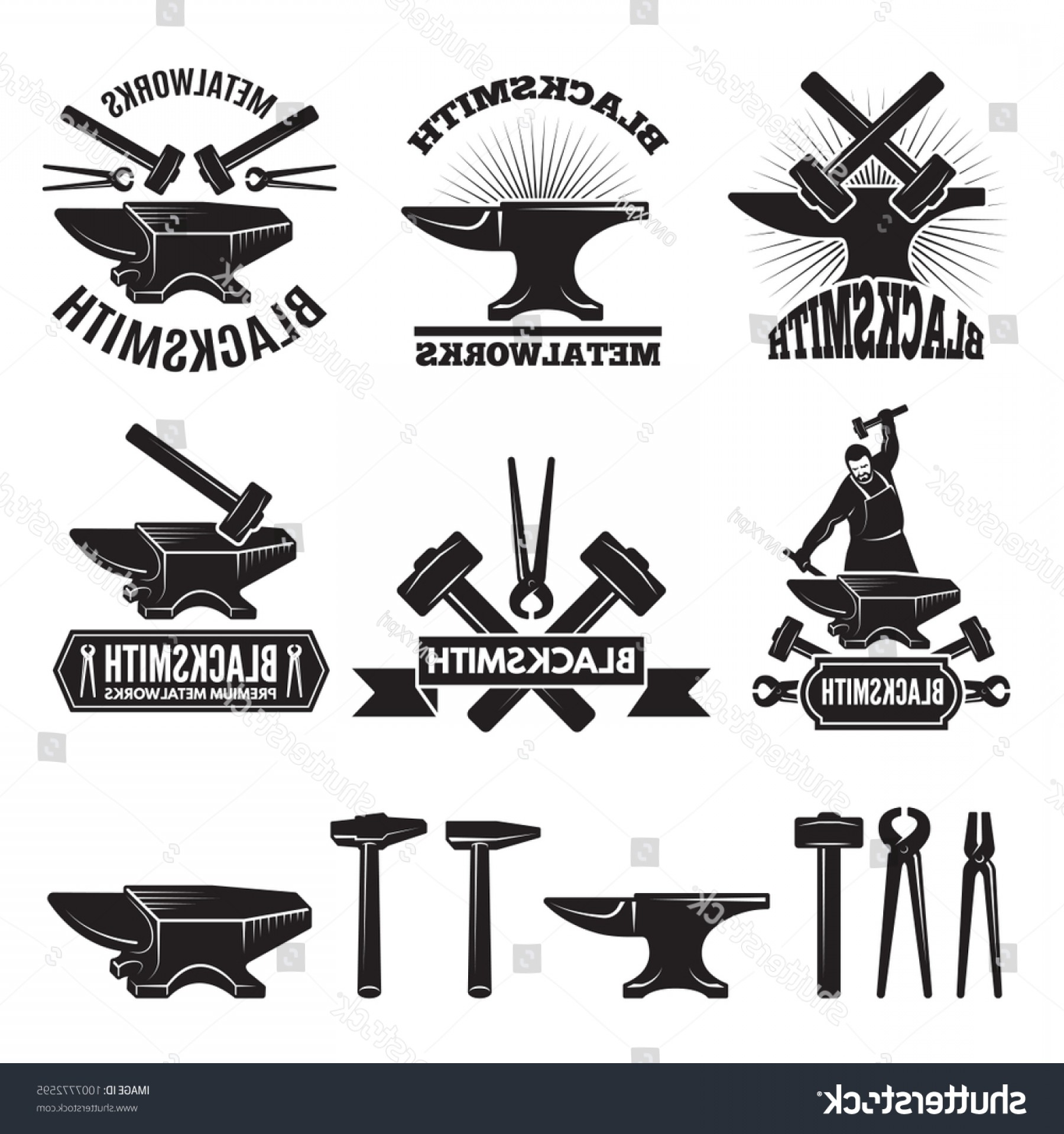 1800x1920 Industrial Logo Set Labels Blacksmith Vector Geekchicpro