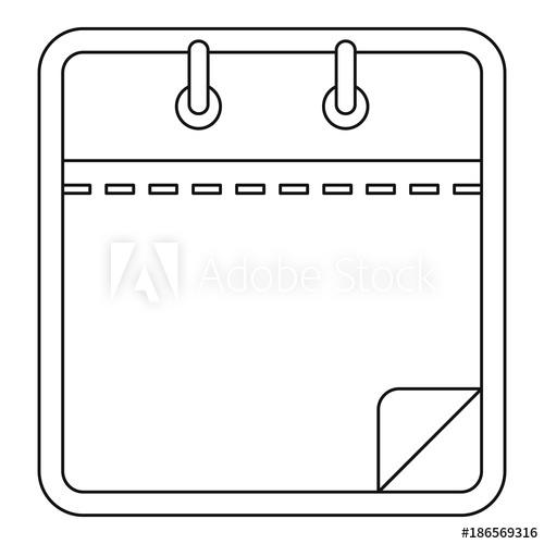 500x500 Blank Calendar Icon. Outline Illustration Of Blank Calendar Vector