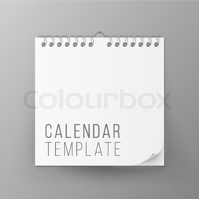 800x800 Spiral Calendar Vector. Blank Office Calendar Mock Up. Realistic