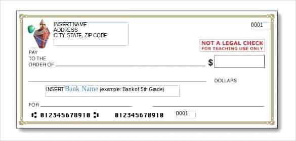 585x280 Printable Fake Checks Blank Check Vector Pack Template Free